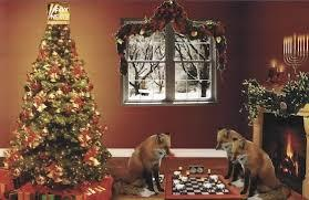 Christmas tree and foxes playing chess