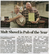 West Sussex Press clipping Malt Shovel wins award
